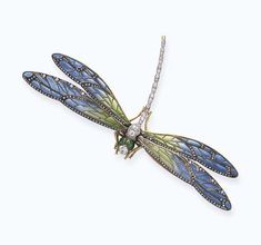 AN ANTIQUE ENAMEL AND DIAMOND BROOCH   Designed as a dragonfly, set en-tremblant, the body composed of a series of old European-cut diamonds, with green enamelled eyes, extending blue and green pliqué-a-jour enamelled wings, with rose-cut diamond detail, mounted in 18k gold and platinum, circa 1890, with French assay marks and maker's mark (indistinct)  Numbered 7676