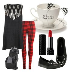 """""""The Cat's Meow"""" by vanessa-kaatz ❤ liked on Polyvore featuring Mrs Moore, WearAll, Stylista Original, Hot Topic and Kat Von D"""