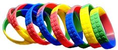 Amazon.com: 36 Building Block Novelty Bracelets for Lego Themed Children's Parties, Party Favor Goody Treat Bag Toys: Toys & Games
