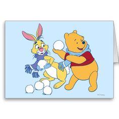 Rabbit and Pooh Greeting Card