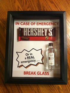 In case of emergency, break glass shadow box. Completed with vodka and chocolate, also works with money. Great for gifts!