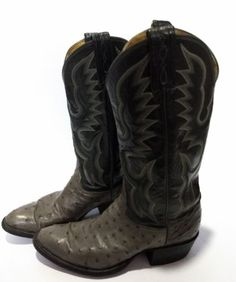 Tony Lama El Rey Cowboy Boots style 8610 size 7.5 D  Full Quill Ostrich  Leather 378cc98c7