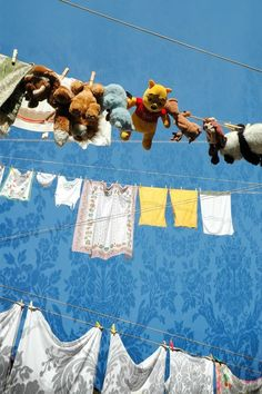 Laundry day and stuffed animals too! Laundry Lines, Laundry Art, Laundry Drying, Doing Laundry, Laundry Room, Hanging Clothes, Hanging Out, Lava, Smelly Towels