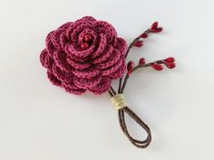 Burgundy Rose Boutonniere. Rustic Crochet Flower Buttonhole, Groom's Flower Single Rose Wedding Boutonniere, Burgundy Wedding Keepsake.