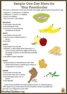 During the preschool years, your child should be eating the same foods as the rest of the family. See this sample menu for a four-year-old child on www.HealthyChildren.org.