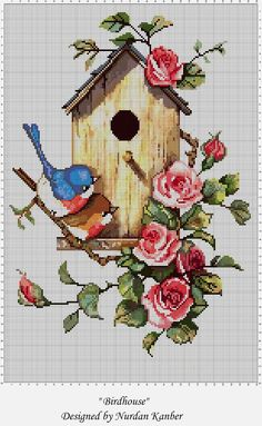 """Birdhouse"" adapted and designed by Nurdan Kanber Original painting by ""Carolyn Shores Wright"" ""Blue Birds"" Cross Stitch Bird, Cross Stitch Animals, Cross Stitch Charts, Cross Stitching, Diy Bead Embroidery, Cross Stitch Embroidery, Embroidery Patterns, Modern Cross Stitch Patterns, Cross Stitch Designs"