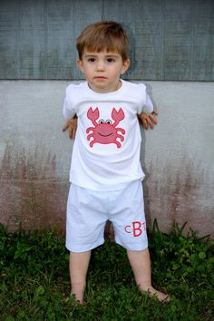 Personalized and Customized Boys Appliqued Crab and Seersucker Shorts...Great for Spring and Summer