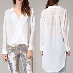 The VENICE fold over hi-lo top - WHITE ️HPx2How fun is this semi-sheer top? I rock it out with a tube or tank top, skinny jeans or leggings. So versatile. AVAILABLE IN WHITE OR BLACK. ‼️NO TRADE‼️ Tops