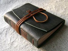 Handmade Leather Journal Forest Green rustic by DancingGreyStudio