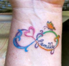 Infinity tattoo | Maybe a little too cutesy, but drip the butterfly, change up colors and use another word...