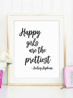 Happy Girls Quote, Cute Teen Girl Gift, Girl Fashion Poster, Audrey  Hepburn, Makeup Wall Decor, Make
