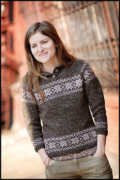 "Stilwell Pullover knit with Classic Elite ""Portland Tweed"" from my new book - ""Made in Brooklyn"" Sweater Knitting Patterns, Knitting Designs, Knitting Sweaters, Norwegian Knitting, Fair Isle Knitting, Sweater Design, Knitwear, Knit Crochet, Couture"