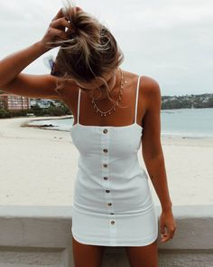 Cute little white sundress.