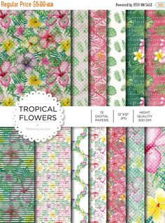 """80% off Entire Shop Digital Paper - Tropical Flowers - Instant Download - Digital Artwork by mormonlinkshop  1.00 USD  Digital paper is a bit of a misnomer as no paper is involved! You can use these JPEG versions of 12""""x12"""" papers to create backgrounds photo mattes die-cuts etc. just as you would have used a traditional piece of paper. Of course you're able to use these over and over again no longer will you worry about making the """"wrong cut"""" and wasting your supply. Great for all ages…"""