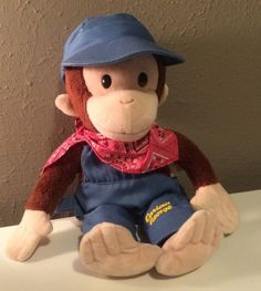 """CURIOUS GEORGE wearing Train Conductor outfit by Applause 12"""" Plush Monkey #Applause Curious George, Conductors, Movie Characters, Monkey, Birthday Ideas, Plush, Teddy Bear, Party Ideas, Train"""