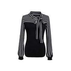Black White Tie-neck Striped Blouse (£19) ❤ liked on Polyvore featuring tops, blouses, tie neck tie, long sleeve blouse, black and white blouse, neck ties and neck tie blouse