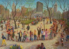 Madison Square Park Shake Shack Line, Oil on linen, 30 x 40 inches