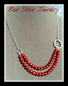 Asymmetrical double strand cranberry fresh water by Redstarjewelry