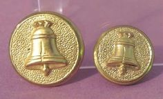 2 Size Vintage Gilt Brass Patriotic BUTTON Liberty Bell