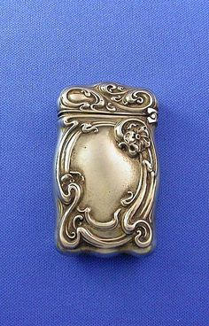 G. Silver match safe, floral motif; Art Nouveau; Wm. Schimper from mrvesta on Ruby Lane