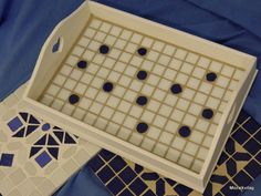 My Wooden White & blue spotted mosaic tray.