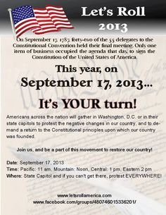 SPECIAL EVENT PATRIOTS! -- Let's look at organizing or somehow supporting an event in our own city or town.