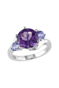 Sterling Silver Tanzanite & Amethyst Ring