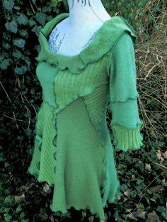 Handmade Upcycled Green Cashmere Sweater Tunic by RabbitRabbitRI