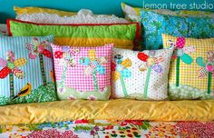 Pretty Patchy Flower Pillows