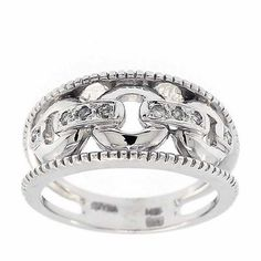0.15 Cttw Round Brilliant Cut Diamonds Cocktail Evening Ring 14K White Gold #Cocktail