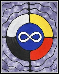 Medicine Wheel with MÉTIS SYMBOL   by Métis Artist Bouvette Identity, Indigenous Art, Indigenous Education, Native American Design, Medicine Wheel, Nativity Crafts, Aboriginal Art, Native Art, First Nations