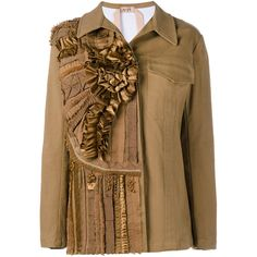 No21 Ruffle & Pompom Embellished Jacket (£400) ❤ liked on Polyvore featuring outerwear, jackets, embellished jacket, long sleeve jacket, studded jacket, brown cotton jacket and ruffle jacket