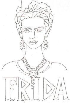Resultado de imagem para riscos livres para bordado frida kahlo