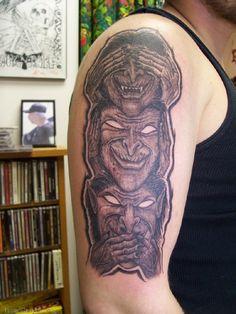 Evil Tattoos, Skull, Portrait, Headshot Photography, Portrait Paintings, Drawings, Portraits, Skulls, Sugar Skull