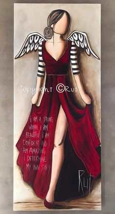 Angel Drawing, Altered Canvas, Angel Pictures, Angel Art, Easy Paintings, Fashion Sketches, Rock Art, Painting & Drawing, Fantasy Art