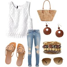 Sunny Tuesday by ferrerchristine on Polyvore featuring polyvore, fashion, style, H&M, Hermès, Straw Studios and SALT.