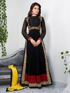 USD 65.05 Black Georgette Embroidered Abaya Style Ankle Length Suit  39187