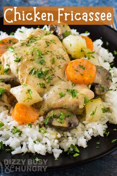 One pot chicken fricasse is a quick skillet dinner recipe to make for Father's Day.