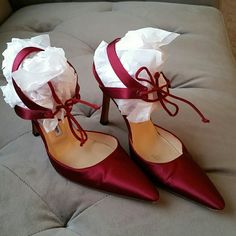"Manolo Blahnik Burgundy Satin Shoes Worn once in ideal condition. Heels are 4"". Comes with original dust bag. Manolo Blahnik Shoes Heels"