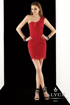 Alyce Paris - Style 2363  Claudine for Alyce Paris, Fall 2014. Whether you're at homecoming or a night out, you'll look super sexy in this one-shoulder lace cocktail dress with beads dispersed throughout. Side zipper closure. Shown in Red.  Sizes: 00-20   Estimate Delivery : 8-12 Weeks  Free Shipping!!!  We are an authorized Alyce Paris dealer. You can be sure you are getting an authentic designer Dress when you buy from Isabella's Wedding Center