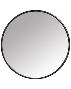 A stylish round black contemporary wall mirror with a minimal metal frame. With elegant modern styling, this mirror works well anywhere in the home.