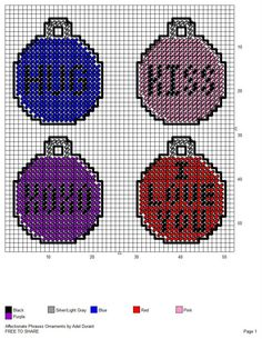 AFFECTIONATE PHRASES ORNAMENTS by ADEL DURANT Plastic Canvas Ornaments, Plastic Canvas Crafts, Plastic Canvas Patterns, Christmas Cross, Christmas Balls, Christmas Ornaments, Halloween Canvas, Plastic Canvas Christmas, Doll Furniture