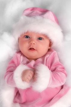 How precious is this sweet Pink Santa baby?