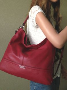 COACH LARGE BLACK CHERRY DARK RED LEATHER HOBO SHOULDER CROSSBODY BAG TOTE PURSE