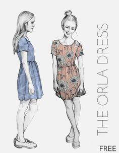 Gratis Schnittmuster einfaches Kleid für Damen zum selber nähen mit Anleitung