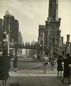 Looking south on Michigan Ave from Pearson, 1944, Chicago.
