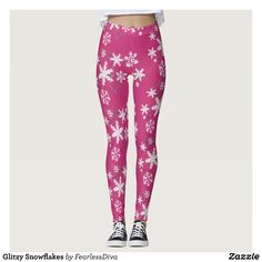Glitzy Snowflakes Leggings : Beautiful #Yoga Pants - #Exercise Leggings and #Running Tights - Health and Training Inspiration - Clothing for #Fitspiration and #Fitspo - #Fitness and #Gym #Inspo - #Motivational #Workout Clothes - Style AND comfort can both be achieved in one perfect pair of unique and creative yoga leggings - workout and exercise pants - and running tights - Each pair of leggings is printed before being sewn allowing for fun designs on every square inch - Medium weight fabric…
