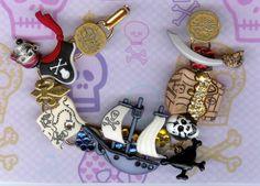 Treasure Ship Button and Rhinestone Pirate Bracelet by jansbeads, $45.00