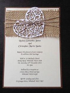 50 Handmade Rustic Vintage Shabby Chic Hessian Wedding Invitations Evening in Cards & Invitations   eBay