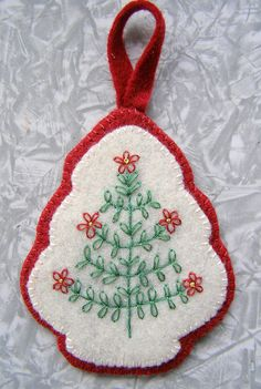 Embroidered Christmas tree;  this is beautiful.                              …
